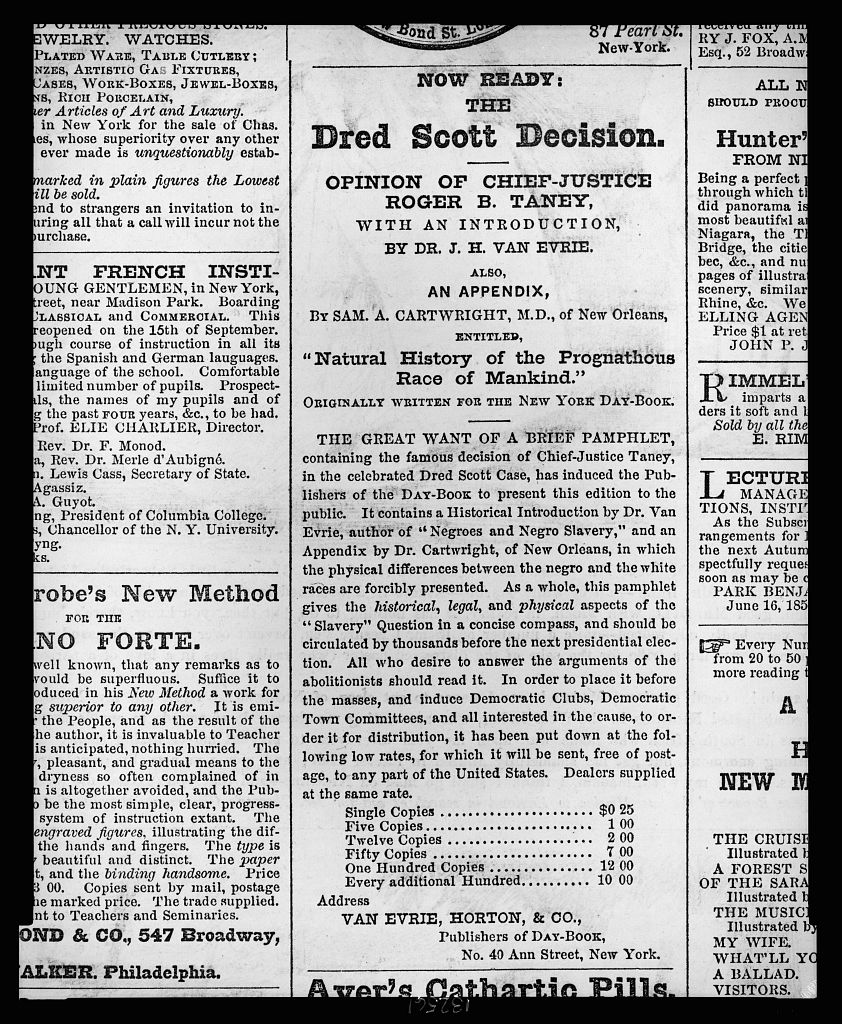 the dred scott decision On march 6, 1857, in its dred scott decision, the supreme court ruled that mr scott, a slave who had spent part of his life in non-slave territory, could not sue for his freedom in a federal court.